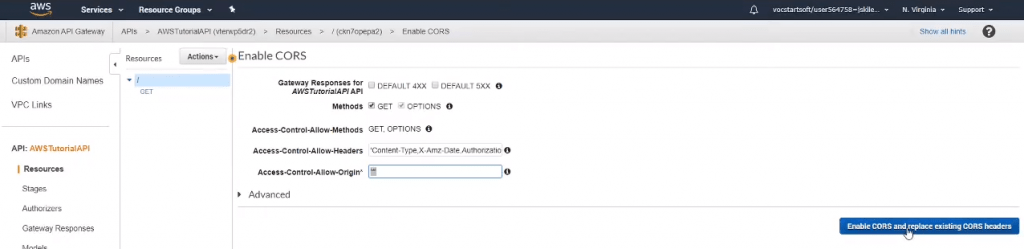 Enable CORS on your AWS API