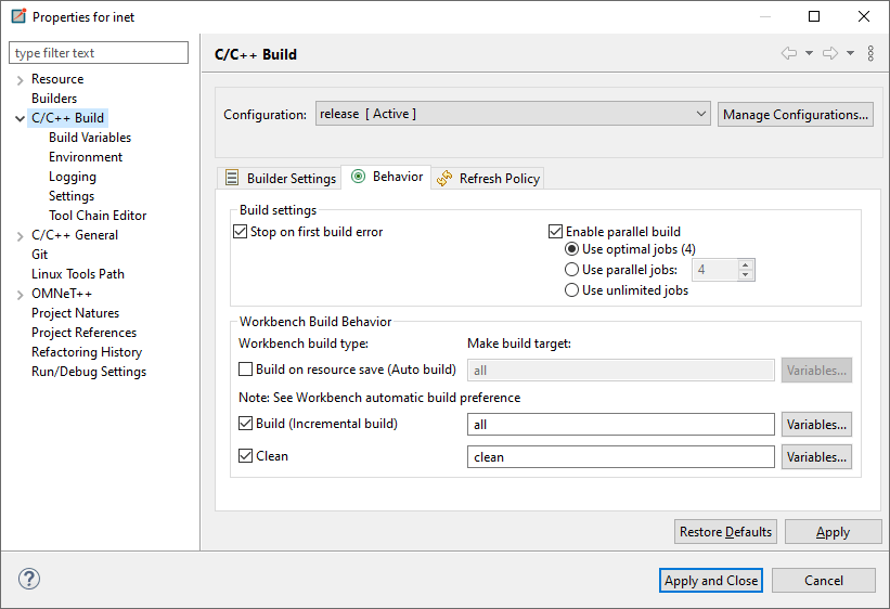 Enable parallel build in OMNET++ project